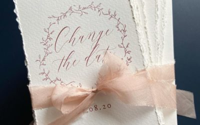 WEDDING CHANGE THE DATE ANNOUNCEMENTS