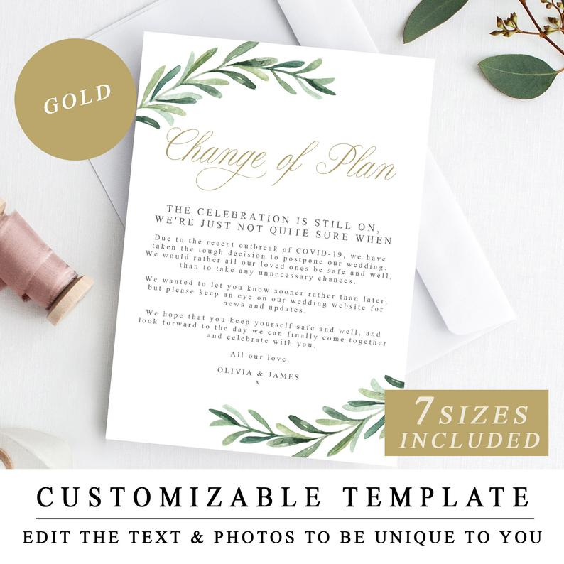 change of plans no date wedding invitation
