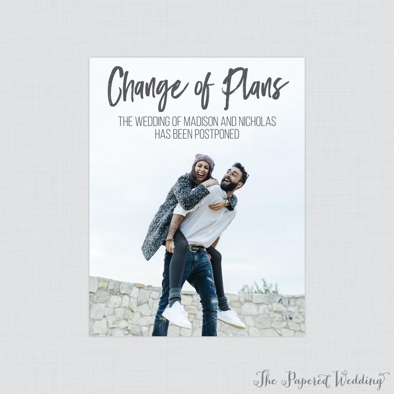change of plans wedding stationery